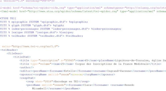 Formation à l'encodage XML-TEI dans TITULUS